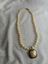 """18"""" knotted 7mm faux pearl strand necklace w/ pearl & enamel enhancer pendant"""