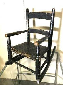 Beautifully Worn & Rustic Antique Child's Rocker Rocking Chair Black w Cane Seat