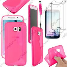 Coque Silicone S-line Rose Samsung Galaxy S6 G920F Mini Stylet 3 Films