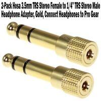 """2-Pack Hosa 3.5mm TRS Stereo Female > 1/4"""" Male Headphone Adapter Gold Converter"""