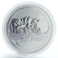 Australia 8 Dollars Year of the Mouse Lunar Series II 5 oz silver coin 2008