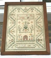"Vintage Needlepoint Sampler Abc In Frame Vintage Handmade Pas1964 20""x26"" Tall"