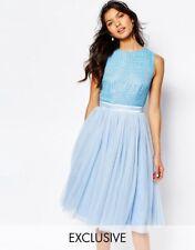 Maya Embellished Top Midi Dress with Tulle Skirt Cashmere blue Uk 12 RRP £85.00