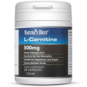 L-Carnitine 500mg - 60 One-A-Day Vegan Capsules - Pure Grade in Free-Form State