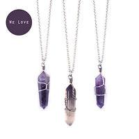 Amethyst Bullet Stone Necklace- Vintage Silver-Quartz Jewellery- Healing Crystal