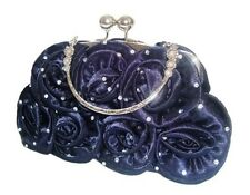 Satin Silk Rose Diamante Flower Wedding Evening Handbag Prom Clutch 14 Colours