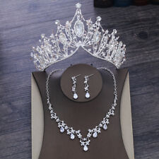 Bling Bridal Jewelry Set Crown Necklace Earring Wedding Crystal Accessories