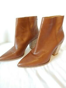 Lucky Brand Adalan Leather Bootie Rounded Square Heel Ankle Boot Sz 9.5 M NEW
