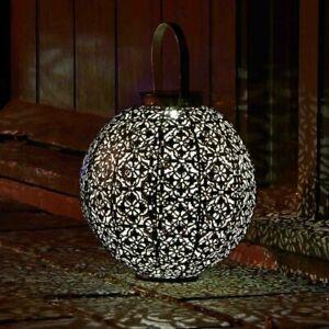 Ornate Damasque Style Solar Lamp Garden Lighting Patio Metal Silhouette Lantern