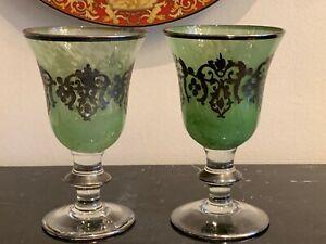 Arte Italica 2 Encrusted Silver Green Swirl Wine Glasses