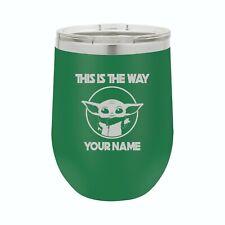12 oz Star Wars Baby Yoda Mandalorian Personalized Wine Tumbler Mug