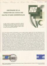 Document Philatélique A4 Musée de la Poste 1981 HEC hautes études commerciales