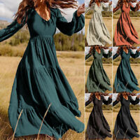 Oversize Women Stylish V-Neck Puff Sleeve Dress Patchwork Long Maxi Dresses