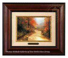 Thomas Kinkade Autumn Lane Framed Brushwork (Burl Frame)