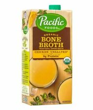(4 Boxes) Pacific Foods Organic Chicken Bone Broth Unsalted 32oz ea. Exp10/2021