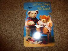 Vintage Hallmark Teddy Bear Die Cut Card School Paper Mint 1987 Crayola