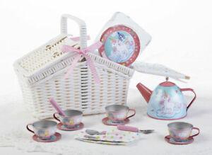 """LAST ONE Children's Kids Tin Tea Set for 4 """"Unicorn"""" White Basket Dishes #8003-2"""