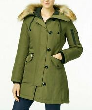 Michael Kors Down Parka Coat with Fur Hood Black and Olive