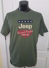 Jeep Fun and Freedom Since 1941 Stars & Stripes Logo Green T Shirt Large Rare