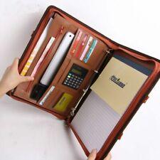Folder Business Document Bag Pu Leather Portfolio Presentation Zipper Binder New