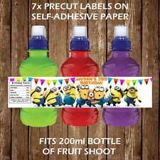 Personalised Minions Fruit Shoot Bottle Labels Birthday Children Party Favour