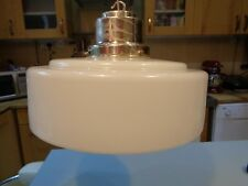 """LARGE ART DECO MILK GLASS LIGHT SHADE SILVER PLATED STEPPED TOP 13"""" DIAMETER"""