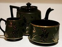 Vintage Oriental Influenced Teapot, Creamer And Sugar Bowl. Mint.