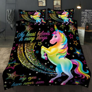 Hot Sale Kids Rainbow Unicorn Black Bedding Set Duvet Cover Comforter Cover Pill