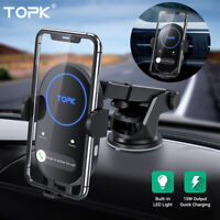 Topk 15W Fast Car Charger Wireless Automatic Clamping Smart Sensor Phone Holder