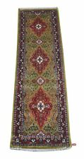 Handmade Small Rug 2' x 7' Durable Artificial Silk Vivid Green Runner