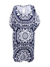ae29e7de8b2f75 Trina Turk Indochine Tunic Swim Cover up Dress Midnight Blue White XS S9