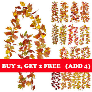 Fake Maple Leaves Garland Hanging Plants Thanksgiving Wedding Home Party Decor