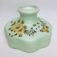 "New 10"" Green Glass Hand Painted Lamp Shade, USA made, Davis-Lynch"
