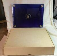 *Vintage AVON EXCLUSIVE Art Deco Cobalt Blue Glass Vanity Make Up Perfume Tray