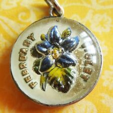 Vintage FEBRUARY VIOLET REVERSE-PAINTED Sterling Silver Flower Bubble Charm BEAU