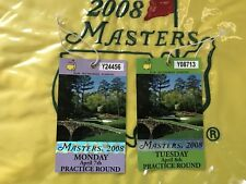 2008 Masters Monday & Tuesday Badge Trevor Immelman Wins  W/ Paring Sheet PGA