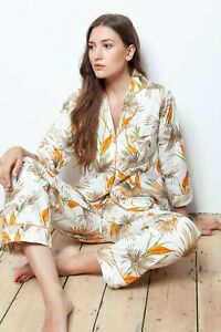 NEW Ladies 100% Cotton Lillie Desert Flora Cottonreal Pyjamas/Loungewear