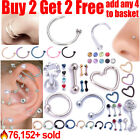 Surgical Steel Helix Tragus Daith Stud Ring Nose Ring Stud Belly Bar Piercing <br/> 🔥76,152+ sold ✔️Buy 2 get 2 free✔️Add any 4 to Basket