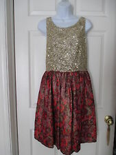 Wren Sequined Gold Jacquard Floral Dress Size L Anthropologie