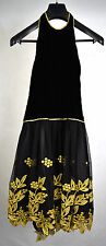 Joan Raines Dress Black Gold Floral Trim Gown 6 USA Womens