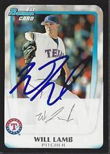 Will Lamb Texas Rangers 2011 Bowman Rookie Signed Card