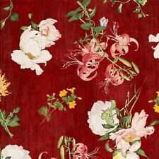 BIRDSONG ORIENTAL RED FLORAL FABRIC