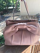 Graceful Valentino Aphrodite Bow Nude Beige Soft Leather Large Satchel Bag $2500