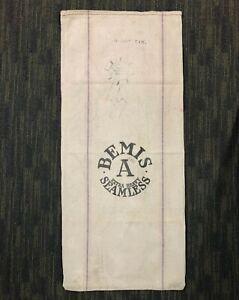 Antique PRINTED HEMP LINEN FEED SACK Fabric GRAIN BAG 19x42 Gettysburg History