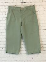 Faded Glory Womens Size 12 Green Cropped 100% Cotton Mid Rise Carpenter Pants
