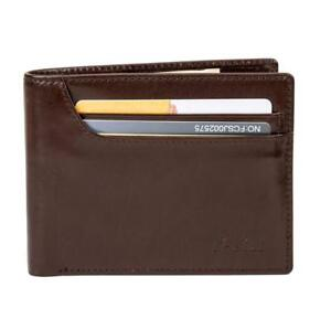 O-Let Pure Leather Wallet for Men Cowhide Leather Dark Brown Gift Pack