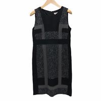 Chico's 1 Womens Medium 8/10 Pieced Jacquard Heathered Gray Sleeveless Dress NEW