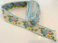 Silk Vtg Floral Embroider Woven Jacquard Border Trim Ribbon 8+ Yds Prairie Craft