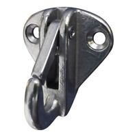 Fender attachment hook, with sprung retainer.  Made from 316 stainless steel.
