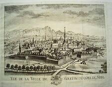 Solothurn Ville de Soleure  Schweiz  seltener alter  Kupferstich um 1750 Nr.1